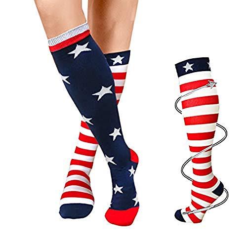 Compression Socks For Women Men 20-25mmHg-Best Medical, Nursing, Travel & Flight Socks - Running & Fitness Compression Stockings (L/XL,Flag)