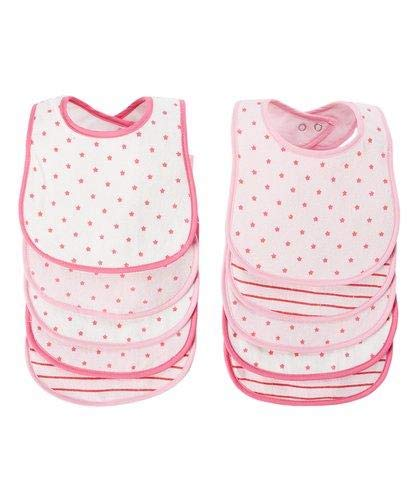 BornCare Baby Girl's 3 Layers Waterproof Baby Bib Set with Snaps AOP Colors, Pink, Medium, 10 Piece 3 Layer Infant Bib