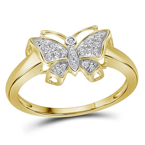 (Dazzlingrock Collection 10kt Yellow Gold Womens Round Diamond Butterfly Bug Cluster Ring 1/12 Cttw)