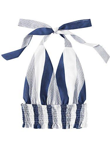 Deep V-neck Halter Top - MakeMeChic Women's Deep V Neck Frill Hem Summer Halter Cami Crop Top Blue S