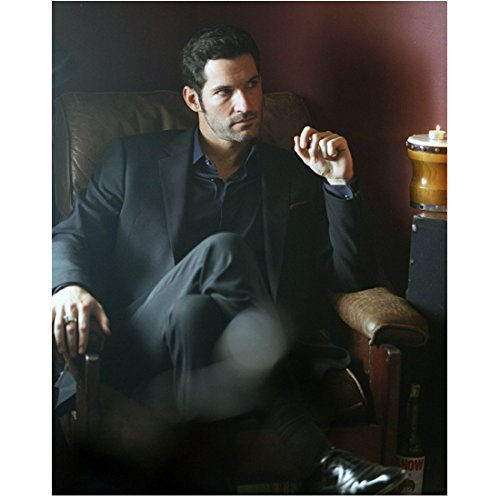 Lucifer with Tom Ellis as Lucifer Morningstar Seated in Chair 8 x 10 inch photo