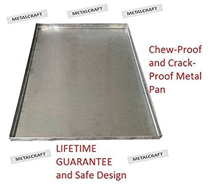 Replacement Tray For Dog Crate - Chew-Proof and Crack-Proof Metal Pan for Dog Crates- (Galvanized, Midwest 9 Pan (41x27-3/8x1))