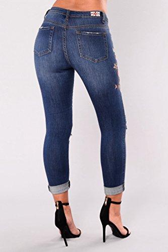 Bleu Fonc Zhiyuanan Femme Pantalon Casual Longue Pants Jeans Stretch Crayon Denim Broderie Trou Dchir Fleurs Skinny 6Z1wxrq6