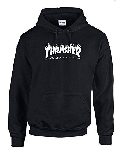 Thrasher Magazine  Skateboarding   White Design   Mens Black Hoodies