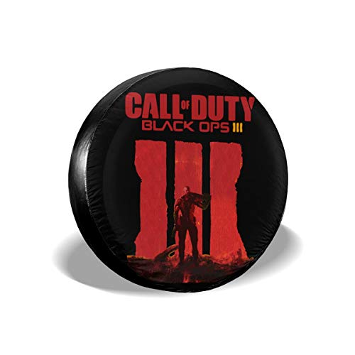 REECECAM Call of Duty Black Ops Potable Polyester Universal Spare Wheel Tire Cover Wheel Covers for Jeep Trailer RV SUV Truck Travel Trailer Accessories(14,15,16,17 Inch)