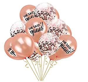 She Said Yaaas I Do Confetti Balloons Pack of 15 Bachelorette Party, 12 Inch, Great for Bridal Shower Bachelorette Engagement Decorations, Birthday Party