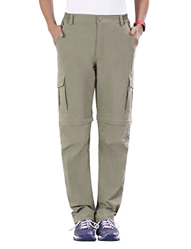 Nonwe Women's Outdoor Quick Dry Light Weight Convertible Cargo Pants Khaki XL/30.5