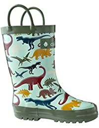 Kids Rubber Rain Boots With Easy-On Handles, Earthy Dino,...