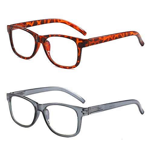 2 Pairs Reading Glasses Blue Light Blocking Computer Readers Spring Hinged Reader Glasses for Men Women Leopard &Gray Frame