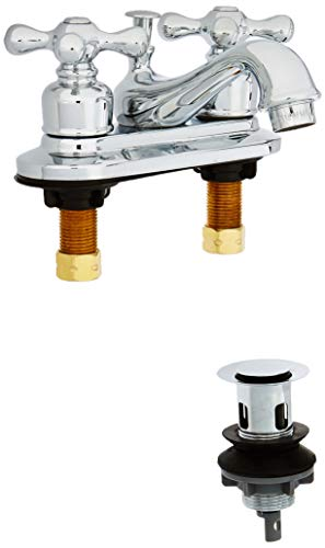 Kingston Brass GKB601AX Restoration 4-Inch Centerset Lavatory Faucet with Retail Pop-Up, 4-1/2 inch in Spout Reach, Polished -