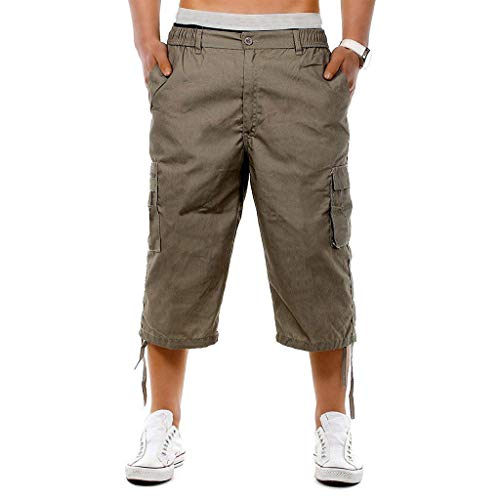 Gathered Waistband - Men's Casual Cotton 3/4 Pants Elastic Waistband Shorts Loose Fit Knee-Length Cargo Shorts Pocket Overalls Brown