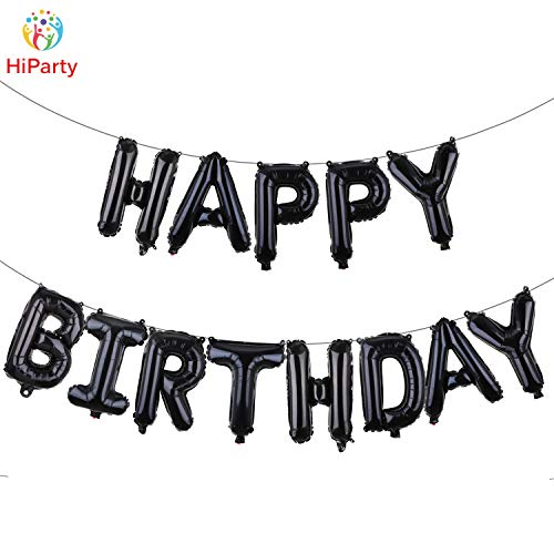 Happy Birthday With Balloons (Black Letter Birthday Balloon,HiParty 3D Premium Aluminum Foil Party Banner Balloons with)
