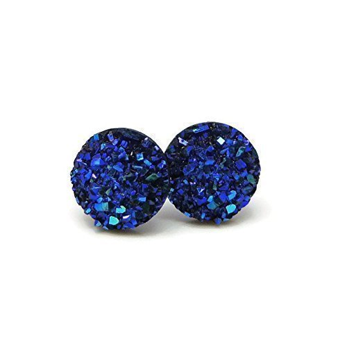 10mm-round-faux-druzy-studs-plastic-post-earrings-for-metal-sensitive-ears-metallic-blue