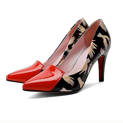 BalaMasa da donna slip-on spikes-stilettos colori assortiti in microfibra pumps-shoes, Rosso (Red), 35
