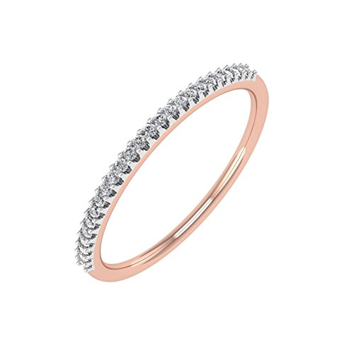 0.07 carat 10K Rose Gold Round Diamond Ladies Anniversary/Wedding stackable Band Ring - IGI Certified