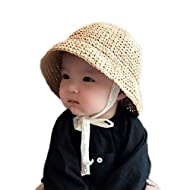 The Bunny Baby Sun Hat, Toddler Straw Sun Hat with Wide Brim Sun Protection and Travel Beach, Foldable Made