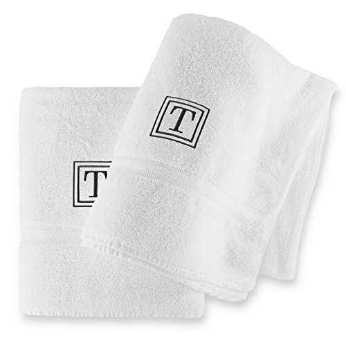 luxor-linens-2-piece-100-egyptian-cotton-bath-towel-set-oversized-black-monogrammed-letter-t-white