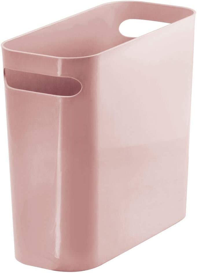"mDesign Slim Plastic Rectangular Small Trash Can Wastebasket, Garbage Container Bin with Handles for Bathroom, Kitchen, Home Office, Dorm, Kids Room - 10"" High, Shatter-Resistant - Rosette Pink"
