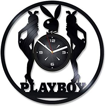 Playboy Bunny Vinyl Record Wall Clock Decor For Bedroom Living Room Kids Gift Him Or Her Christmas Birthday Holiday Housewarming Present