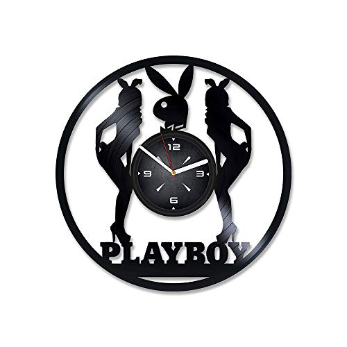 Playboy Bunny Vinyl Record Wall Clock. Decor for Bedroom, Living Room, Kids Room. Gift for Him or Her. Christmas, Birthday, Holiday, Housewarming Present.