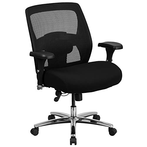 (Flash Furniture HERCULES Series 24/7 Intensive Use Big & Tall 500 lb. Rated Black Mesh Executive Swivel Chair with Ratchet Back)