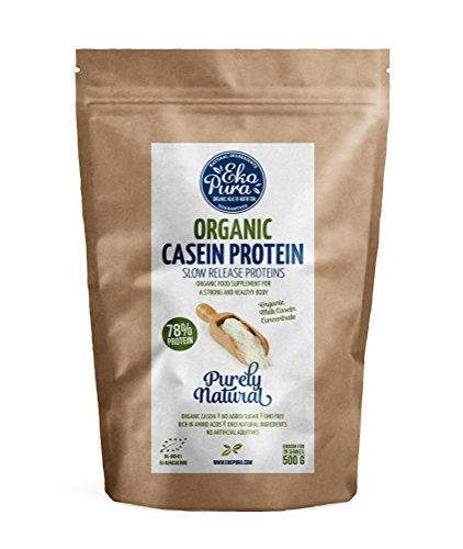 Organic Casein Protein - Natural - 78% Protein - Certified Organic, from Grass Fed Cows, Additive Free - 500g ...