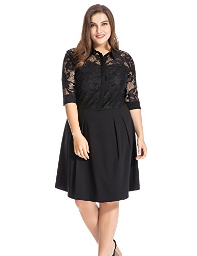 Button Party Dress In Black (Chicwe Women's Vintage Style Luxury Lace Plus Size Dress With Flare Skirt 1X)