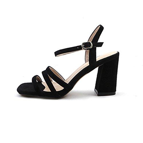 Sandalias tacones Black áspera zapatos de Color Roma altos Sra Size QINGTAOSHOP de palabra alto de verano cuero 37 Black tacón de con 5FU6wqv