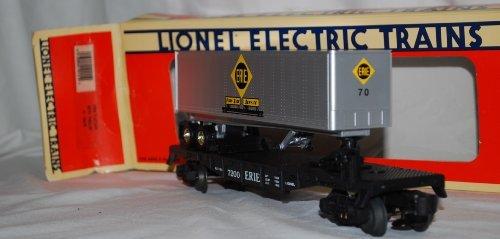 (Lionel 6-19415 Erie TOFC Flat Car w/ Trailer #70 die cast sprung trucks FFlags#5 )