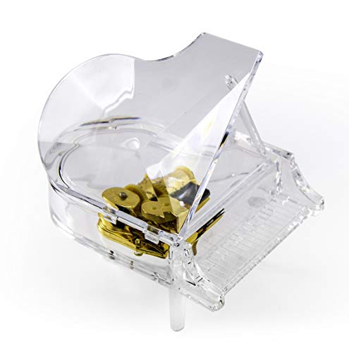 MusicBoxAttic Clear Acrylic 18 Note Grand Piano with Propped Lid - Over 400 Song Choices - Shall We Dance by MusicBoxAttic (Image #1)