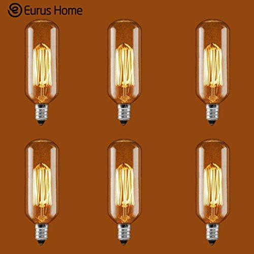 Eurus 25 Watt - Vintage Antique Light Bulb - T25 Radio Style - 325 in Length - Candelabra Base - Hand-Wound Tungsten Thread Filament - Clear 6 Pack