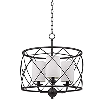 """Stone & Beam Industrial Modern Dark Bronze Pendant 21.25"""" H, With LED Bulbs, Off-White Shades"""