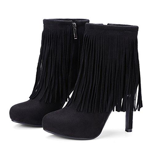 VB Boots Shoes Big size Round Head Thick Bottom High heel Fringed Zipper Black EVIgHnu