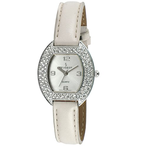 Peugeot Women's 339WT Oval Crystal White Leather Strap Watch