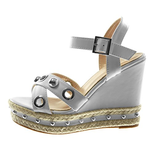 Sandalias Moda de Mujer Plataforma Perla Plataforma cm Zapatillas Perforado Mules Angkorly Tobillo Tachonado Blanco Correa 12 qTggS4