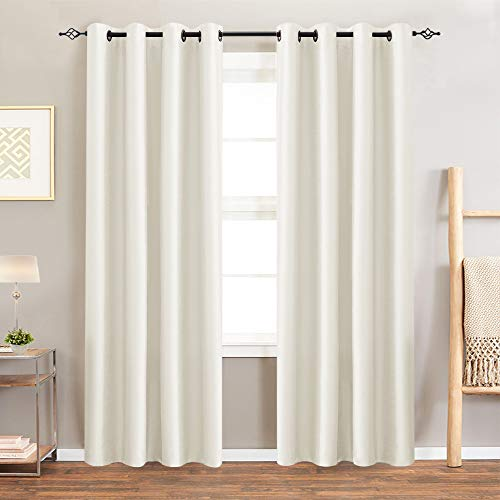 - Moderate Blackout Curtains for Bedroom 95 inch Quality Faux Silk Window Curtains Pearl White One Set