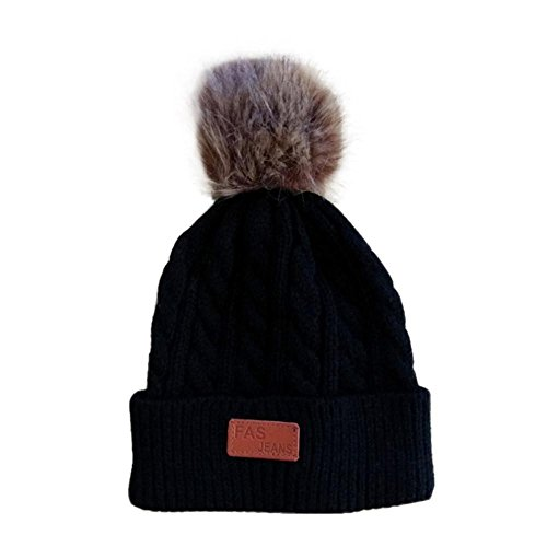 Tloowy Winter Clearance! Toddler Baby Boy Girls Kids Pom Pom Warm Cable Knit Hats Crochet Beanie Caps for 2-8Y (Black, Free Size) -
