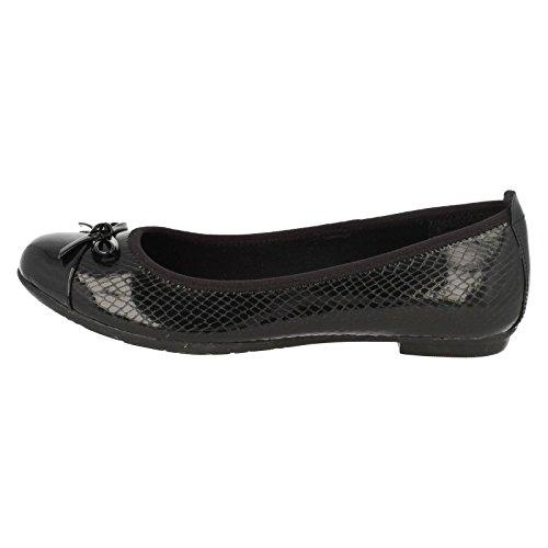Clarks Tizz Hoffnung Bootleg Mädchenschule Slipper Schuh Black Leather 8 G