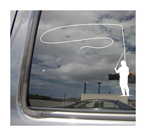 Right Now Decals Fly Fishing Angling Fisherman Rod Reel Car - Cars Trucks Moped Helmet Hard Hat Auto Automotive Craft Laptop Vinyl Decal Store Window Wall ()