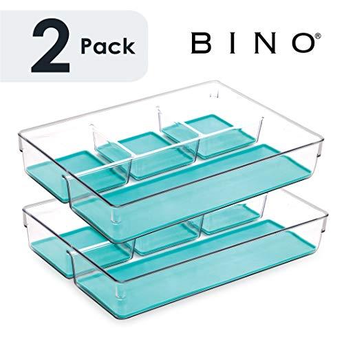 Organizador de cajones de plástico multiusos BINO de 4 secciones: paquete de 2, Aqua Blue: organizador de almacenamiento de plástico para el hogar, la cocina, el baño, el dormitorio y la oficina