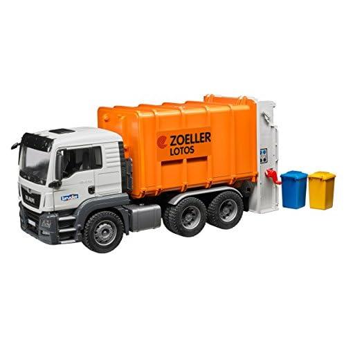 Bruder 03762 - Camion poubelle MAN TGS orange avec 2 poubelles