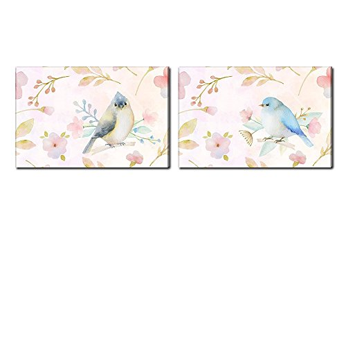 wall26 Canvas Wall Art - Watercolor Style Painting of Pink Birds and Floral Patterns - Giclee Print Gallery Wrap Modern Home Decor Ready to Hang - 16
