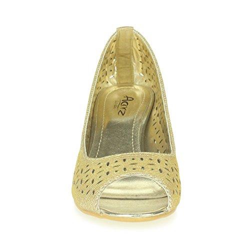 Mujer Trabajo Talón Inteligente Oro De Ponerse Señoras Zapatos Sandalias Casual Tamaño Cuña Comodidad Oficina Peeptoe rXFrva