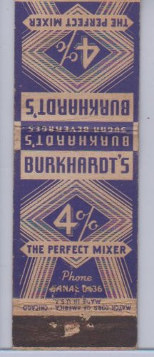 Burkhardt's 4% the Perfect Mixer Vintage Matchbook Cover