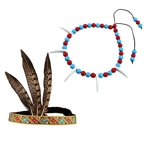 PAUBOLI Indian Headpiece+ Bones Necklace Native American Costume Kids Adults (Kids 2-8 Years) ()