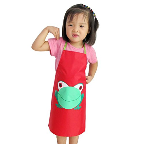 Iuhan 1PC Kids Children Waterproof Frog Print Apron Paint Eat Drink Outerwear (Red) ()