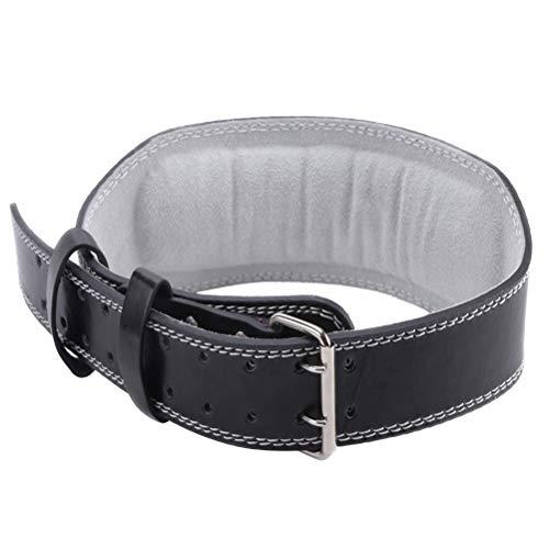 LIOOBO Gimnasio Cinturón Cuero Peso Musculacion Entrenamiento Cinturones Pesas Levantamiento 110 CM - Tamaño S (Negro)