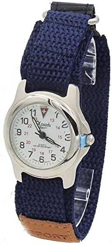 Kid's Easy Read Military Time Watch with Adjustable Blue Canvas Band