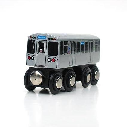 "Munipals MP03-11BL Wooden Subway /""L/"" Train Chicago CTA Blue Line O/""Hare Forest P"