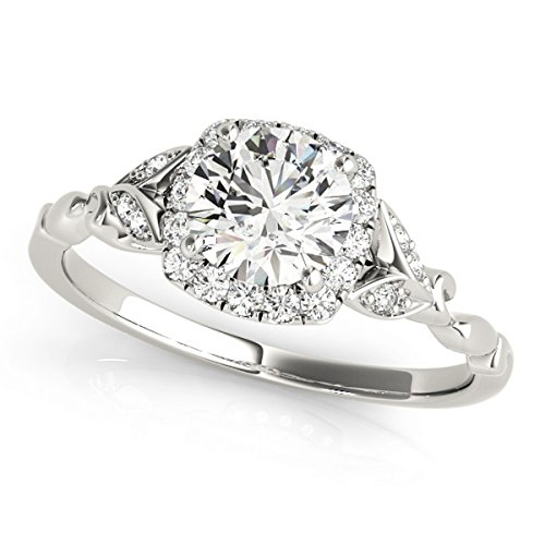 Diamond Antique Style Engagement Ring Palladium (0.89ct) by Allurez